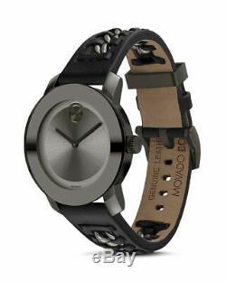 Tout Neuf! Rare Movado Gras 3600544 Gunmetal Grey Bracelet Noir Montre Femme