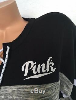 Tunique D'équipage Varsity À Lacets Rose Et Gris Chiné De Victoria's Secret - XL Nip