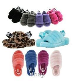 Ugg Soft Fluff Yeah Diapositive Slippers Femmes Chaussures Sandal Noir Rose Leopard +