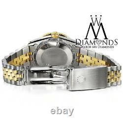 Unisex Rolex 36mm Datejust Noir Mop String Emerald Diamond Cadran 2 Tone Montre