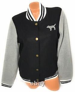 Victoria Secret Love Pink Varsity Jacket Pink 86 Broderie Noir & Gris Taille M