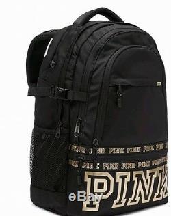 Victoria Secret Pink Black Grey Sac À Dos Collegiate 17 '' Laptop Pocket Multi Nouveau