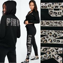 Victoria's Secret Pink Bling Hoodie+campus Pants Grey/black Large L Small S 150 $