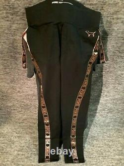 Victoria's Secret Pink Bling Tee Shirt + Leggings Set Black Gray Rose Gold L Nip