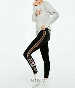 Victoria's Secret Pink Bling Tee Shirt + Leggings Set Gray Black Rose Gold M L
