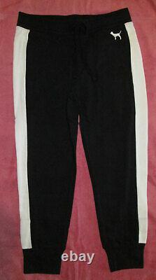 Victoria's Secret Pink Block Sweat Pants & Hoodie Set Black, White & Gray L T.n.-o.
