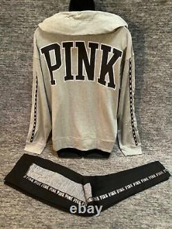 Victoria's Secret Pink Hoodie Tee Shirt + Bling Cozy Legging Set Gris Noir M