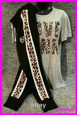 Victoria's Secret Pink Leopard Campus Tee Shirt + Pantalon Jogger Set Black Gray M