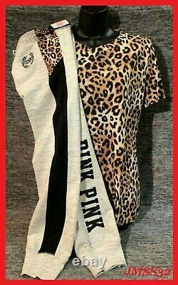 Victoria's Secret Pink Leopard Tee Shirt + Gym Pants Set Gray Black Logo M T.n.-o.