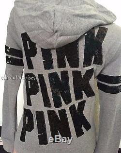 Victoria's Secret - Veste À Capuche Zippée À Paillettes Bling Rose Et Noire, Xs, M, L