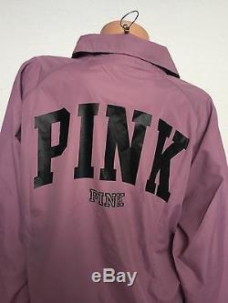 Victoria's Secret Veste De Coach Doublée Sur Le Front Rose Rose Gris Mauve Noir M