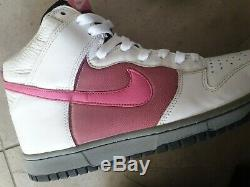 Vintage 2007 Nike Dunk High Jp Gris Noir Blanc Rose 9,5 9 Sb Armée De L'air Pro 1