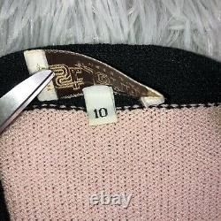 Vintage Années 1970 St. John Marie Gray Pink Acrylic Knit Cardigan Sweater 10