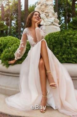 Vintage Boho Robes De Mariage Robe De Mariée Sur Mesure À Manches Longues Col En V Profond Top En Dentelle