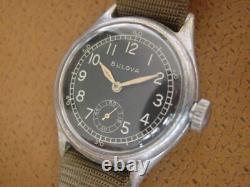 Vintage Bulova U. S. Numéro Militaire Wrist Watch. C'est Bon. 10 Ak