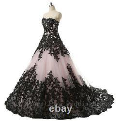 Vintage Gothique Robes De Mariage D'halloween Appliques Noires Sweetheart Robe De Mariée