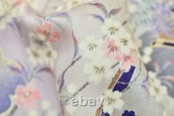 Vintage Japonais Gris/noir/or Silk Kyoto Festival Furisode/wedding Kimono S/m