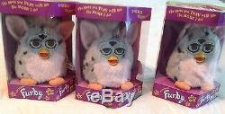 Vintage Original Furby Nib-1998 Modèle 70-800 Gris / Taches Noires, Poitrine Et Oreilles Roses