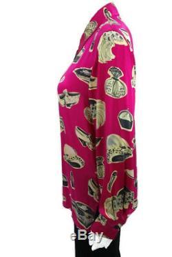 Vtg Laurel By Escada 6 34 S Rose Noir Gris 100% Soie Blouse Ls Shirt Chapeaux Chaussures
